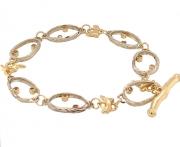 14k white and yellow gold sea grass dia bracelet
