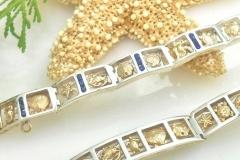 Sterling silver and 14k reef link bracelets
