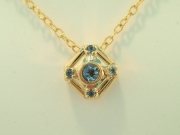 18k Gold Aquamarine Pendant and chain