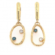14k gold sea grass loops with blue and white diamonds