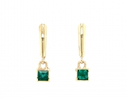 14k gold faceted emerald drop earrings