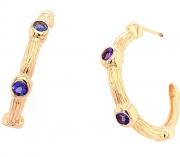 14k gold sea grass sapphire hoops