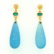 14k gold nautical knot drops with 36cts aquas and opals