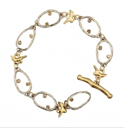 14k white and yellow gold sea grass dia bracelet