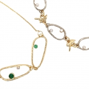 14k yellow and white gold sea grass stone necklaces