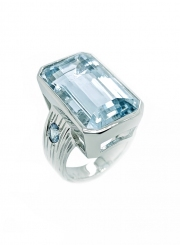 14k white gold aqua and paraiba ring