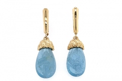 14k sea grass aquamarine drop earrings