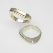 Sterling silver and 14k 2 tone bands