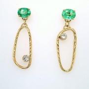 14k gold sea grass paraiba and diamond earrings