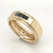14k gold man's band with black diamonds