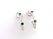 Sterling silver sea grass hoops with green tourmaline