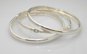 Sterling silver plain and sea grass bangles
