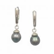 Sterling Silver and Tahitian Pearl Earrings