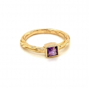 14k gold sea grass stackable amethyst ring