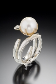Sterling Silver and 14k Gold Coral and Pearl Ring