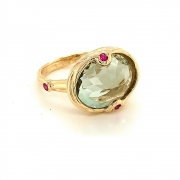 14k gold green amethyst and pink sapphire ring