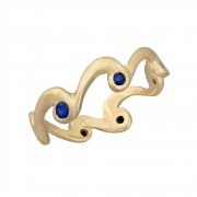 14k gold and blue sapphire wave ring