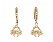 14k gold crab drop earrings