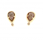 14k gold sea grass diamond studs