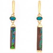 14k gold marine blue opal drop earrings