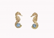 14k gold seahorse earrings with tanzanite