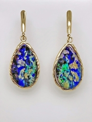 14k gold sea grass and  boulder opal drops