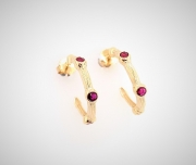 14k gold sea grass ruby hoop earrings