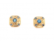 18k gold aquamarine stud earrings