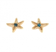 18k gold starfish blue diamond stud earrings
