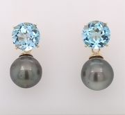 14k gold blue topaz studs with Tahitian baroque black pearls