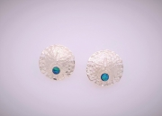 Sterling silver sand dollar stud earrings with boulder opals