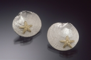 Sterling silver and 14k gold clamshell earrings