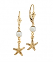 14k Gold Starfish and Pearl Drop Earrings