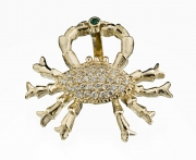 14k Gold Crab Pendant with Diamonds