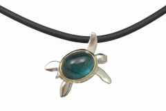 Sterling Silver and 14k Custom Turtle with Tourmaline Shell