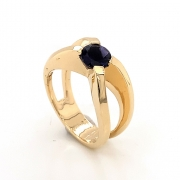 14k gold crossed ring with 6mm iolite