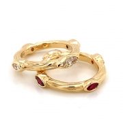 14k gold sea grass marquise stackables