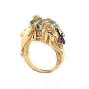 14k gold mermaid and dolphin ring