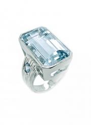 14k white gold aqua and paraiba ring