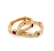 14k gold sea grass stackable rings