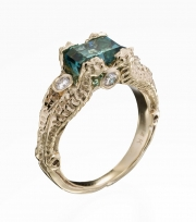 14k Gold Seahorse Ring with Tourmaline and Diamonds