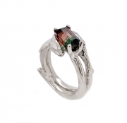 Sterling silver dolphin and coral sculpted ring with watermelon  tourmaline