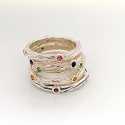 Sterling silver sea grass stone stackable rings
