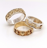 Sterling silver and 14k gold sea rings
