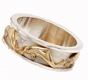 Sterling silver and 14k gold dolphin ring